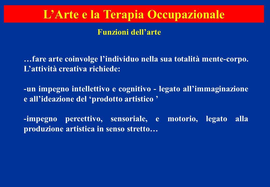 …fare arte coinvolge l'individuo nella sua totalità mente-corpo. L'attività creativa richiede: -un impegno intellettivo e cognitivo - legato all'immag
