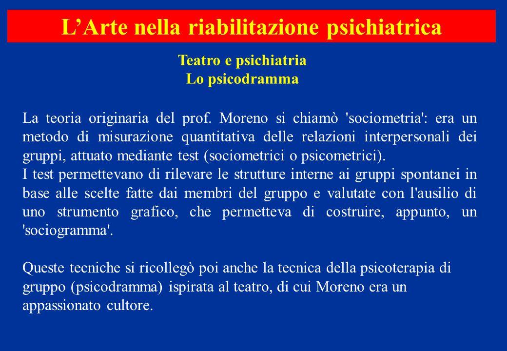 La teoria originaria del prof. Moreno si chiamò 'sociometria': era un metodo di misurazione quantitativa delle relazioni interpersonali dei gruppi, at