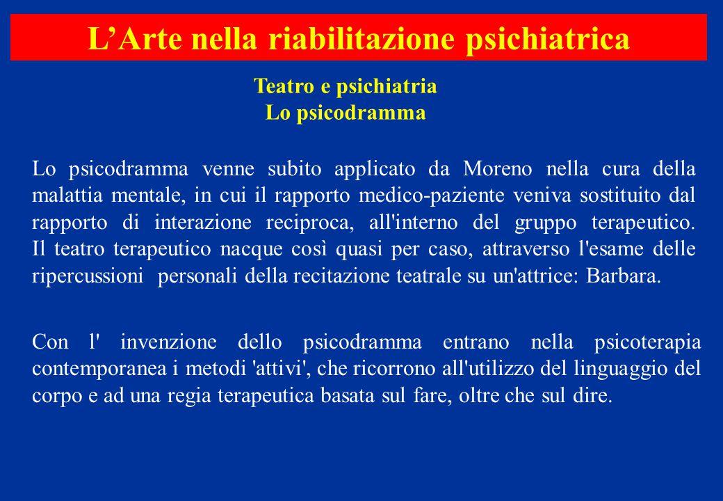 Lo psicodramma venne subito applicato da Moreno nella cura della malattia mentale, in cui il rapporto medico-paziente veniva sostituito dal rapporto d