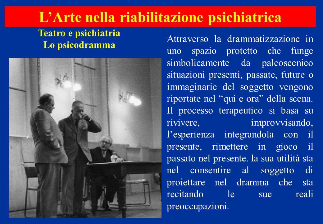 Teatro e psichiatria Lo psicodramma L'Arte nella riabilitazione psichiatrica Attraverso la drammatizzazione in uno spazio protetto che funge simbolica