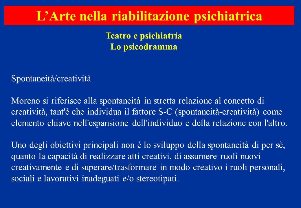 Spontaneità/creatività Moreno si riferisce alla spontaneità in stretta relazione al concetto di creatività, tant'è che individua il fattore S-C (spont