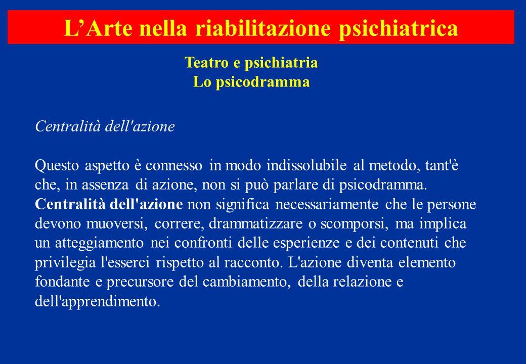 Centralità dell'azione Questo aspetto è connesso in modo indissolubile al metodo, tant'è che, in assenza di azione, non si può parlare di psicodramma.
