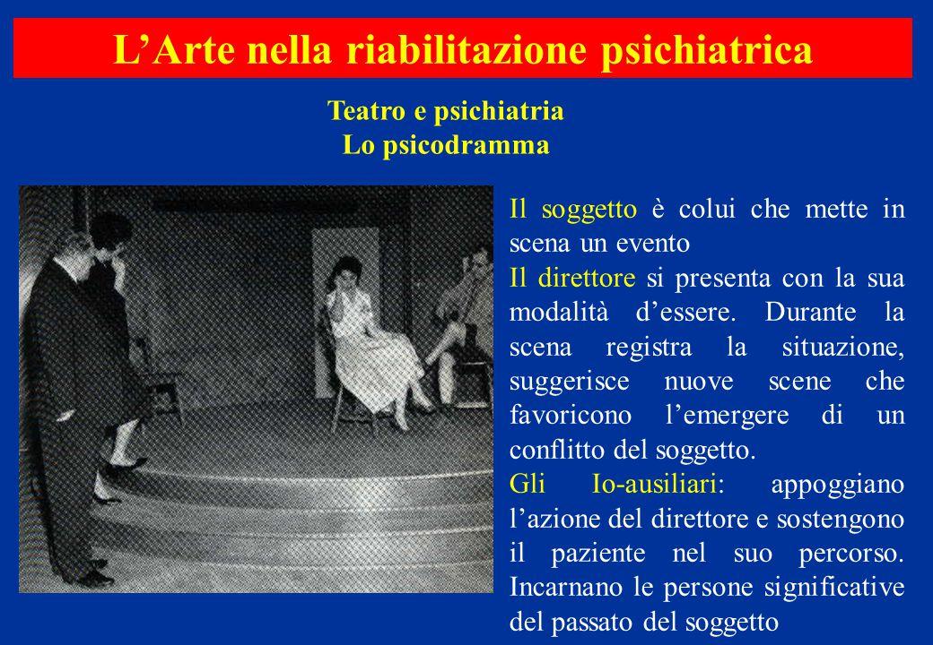 Teatro e psichiatria Lo psicodramma L'Arte nella riabilitazione psichiatrica Il soggetto è colui che mette in scena un evento Il direttore si presenta