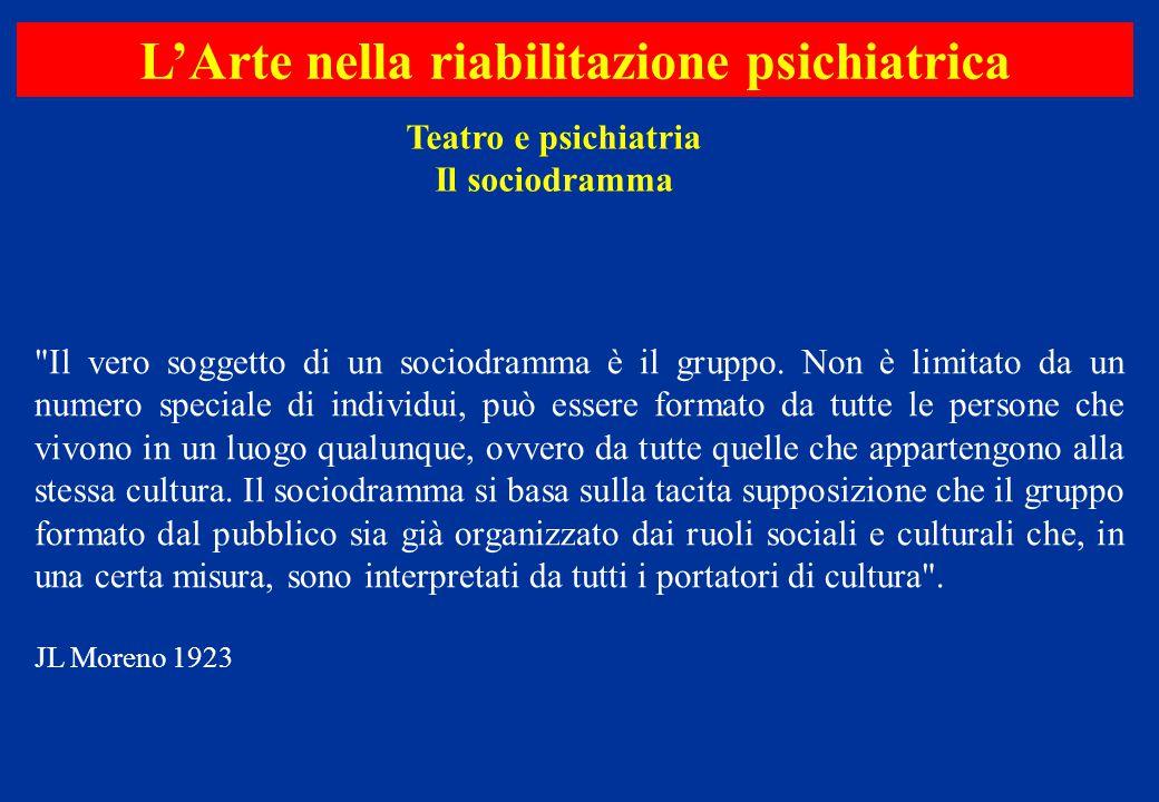 Teatro e psichiatria Il sociodramma L'Arte nella riabilitazione psichiatrica