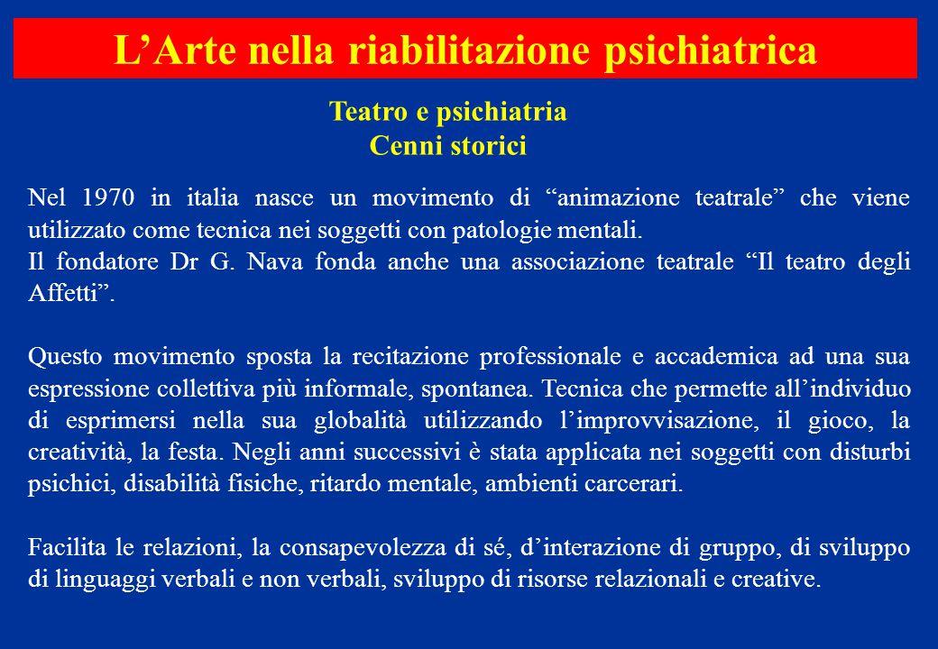 """Nel 1970 in italia nasce un movimento di """"animazione teatrale"""" che viene utilizzato come tecnica nei soggetti con patologie mentali. Il fondatore Dr G"""