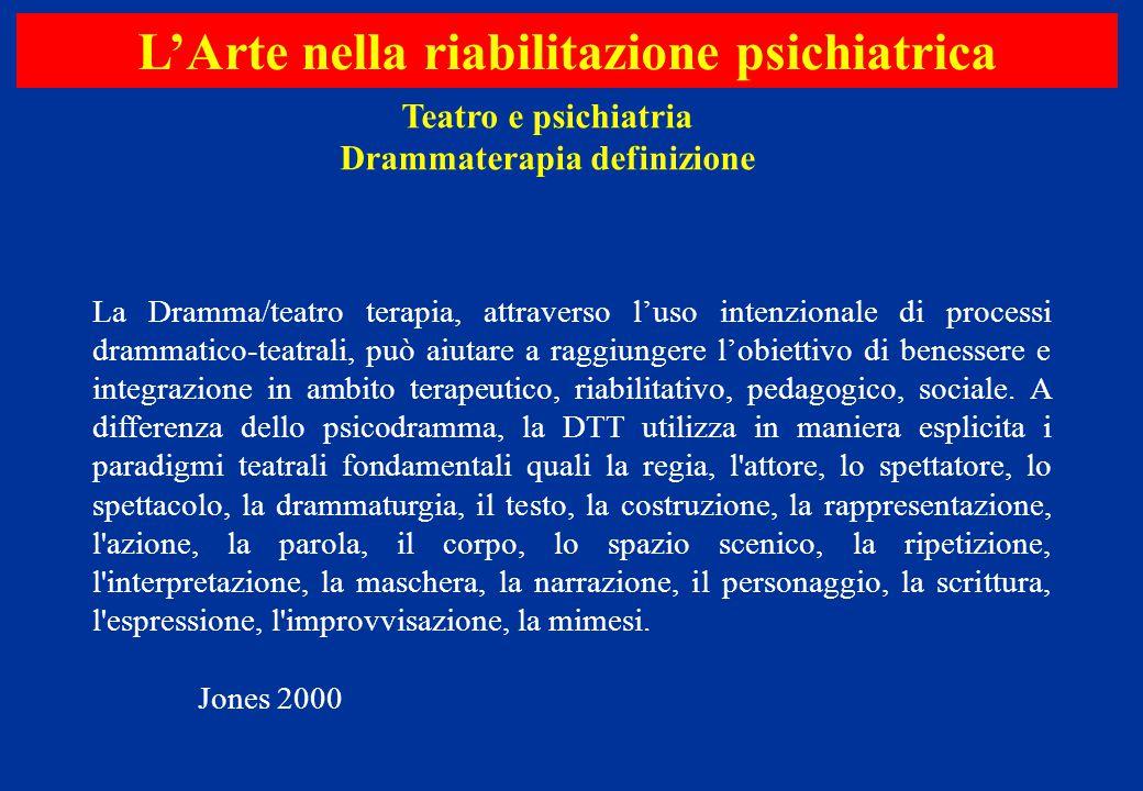 La Dramma/teatro terapia, attraverso l'uso intenzionale di processi drammatico-teatrali, può aiutare a raggiungere l'obiettivo di benessere e integraz