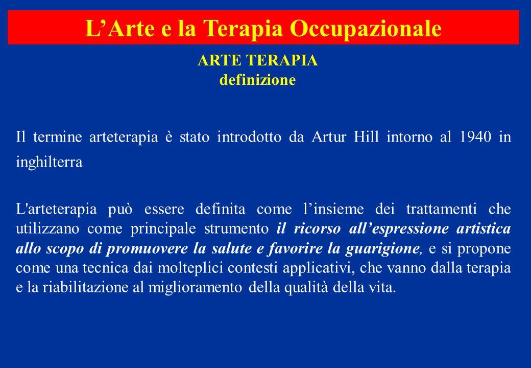 Il termine arteterapia è stato introdotto da Artur Hill intorno al 1940 in inghilterra L'arteterapia può essere definita come l'insieme dei trattament