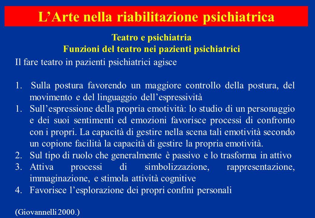Il fare teatro in pazienti psichiatrici agisce 1. Sulla postura favorendo un maggiore controllo della postura, del movimento e del linguaggio dell'esp