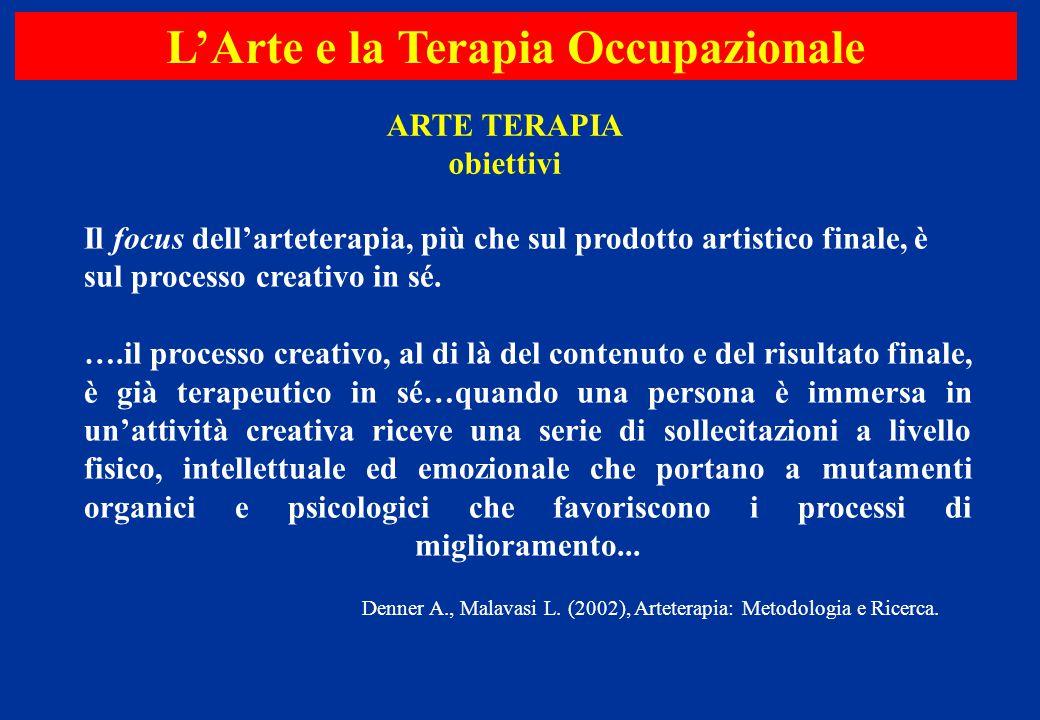 Il focus dell'arteterapia, più che sul prodotto artistico finale, è sul processo creativo in sé. ….il processo creativo, al di là del contenuto e del