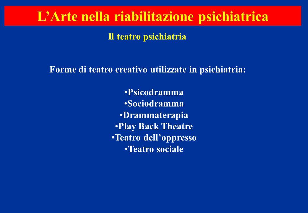 Il teatro psichiatria L'Arte nella riabilitazione psichiatrica Forme di teatro creativo utilizzate in psichiatria: Psicodramma Sociodramma Drammaterap