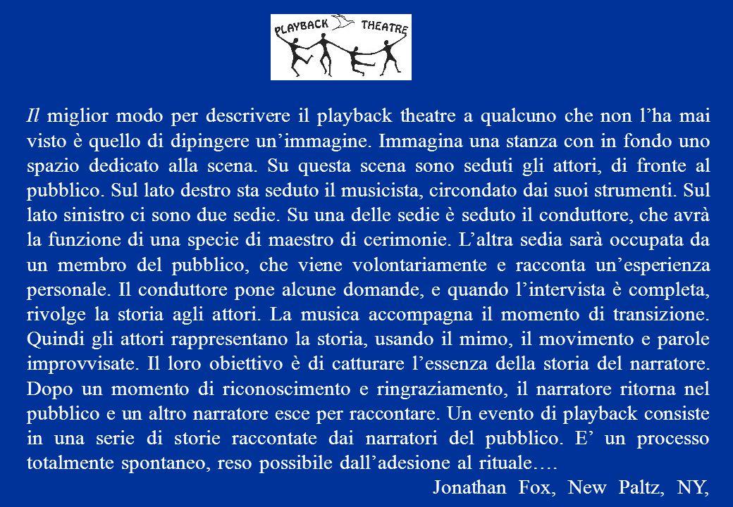 Il miglior modo per descrivere il playback theatre a qualcuno che non l'ha mai visto è quello di dipingere un'immagine. Immagina una stanza con in fon