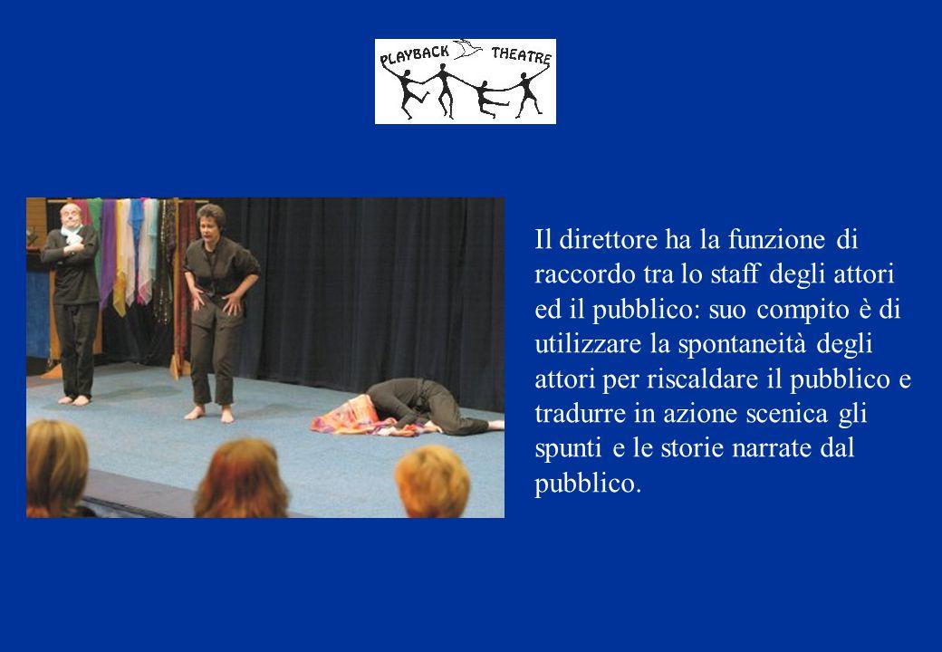 Il direttore ha la funzione di raccordo tra lo staff degli attori ed il pubblico: suo compito è di utilizzare la spontaneità degli attori per riscalda