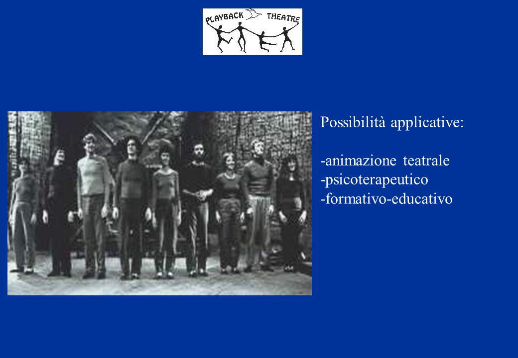 Possibilità applicative: -animazione teatrale -psicoterapeutico -formativo-educativo