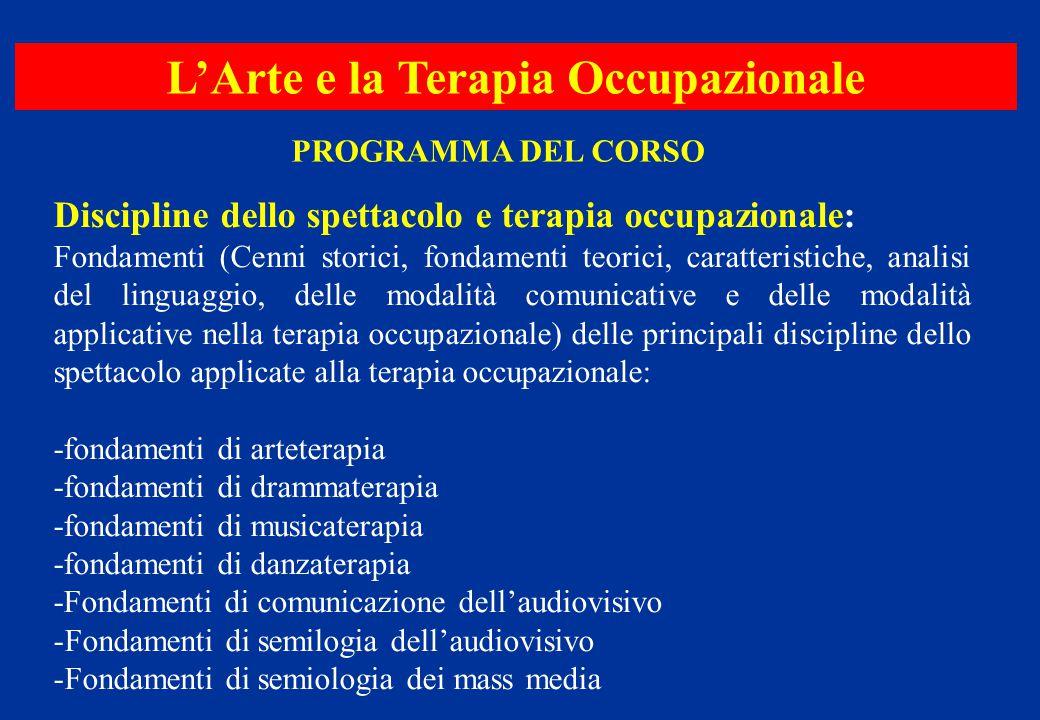 PROGRAMMA DEL CORSO Discipline dello spettacolo e terapia occupazionale: Fondamenti (Cenni storici, fondamenti teorici, caratteristiche, analisi del l