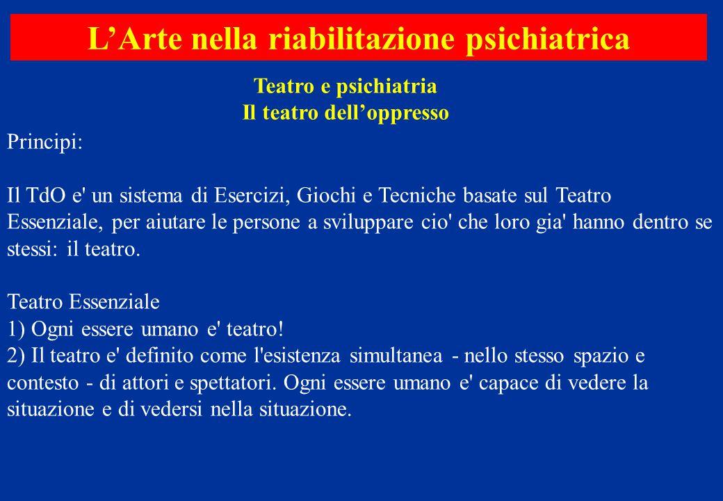 Teatro e psichiatria Il teatro dell'oppresso L'Arte nella riabilitazione psichiatrica Principi: Il TdO e' un sistema di Esercizi, Giochi e Tecniche ba