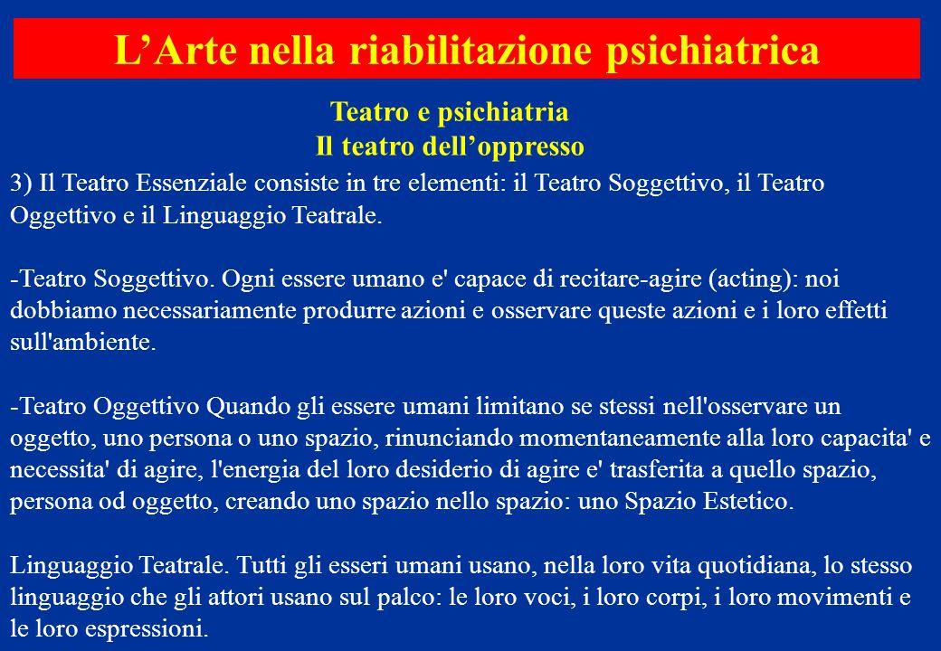 Teatro e psichiatria Il teatro dell'oppresso L'Arte nella riabilitazione psichiatrica 3) Il Teatro Essenziale consiste in tre elementi: il Teatro Sogg
