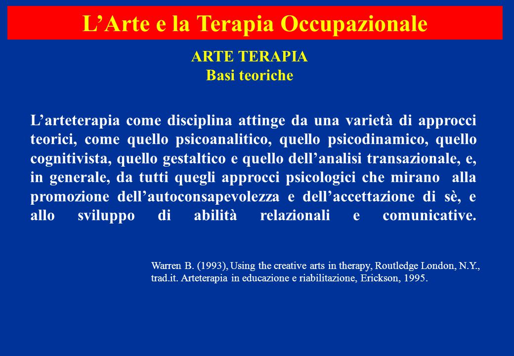 L'arteterapia come disciplina attinge da una varietà di approcci teorici, come quello psicoanalitico, quello psicodinamico, quello cognitivista, quell