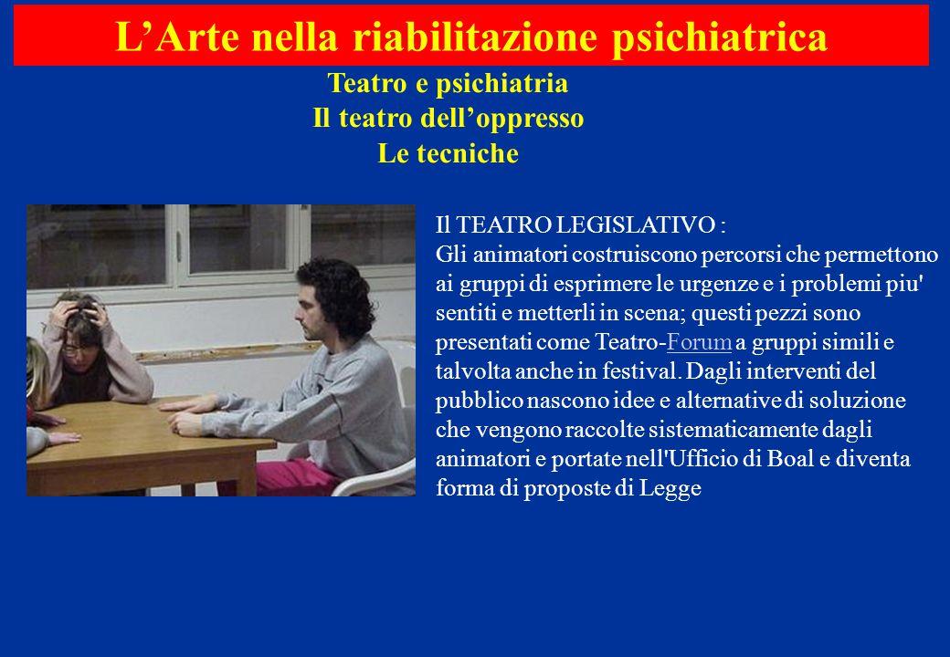 Teatro e psichiatria Il teatro dell'oppresso Le tecniche L'Arte nella riabilitazione psichiatrica Il TEATRO LEGISLATIVO : Gli animatori costruiscono p