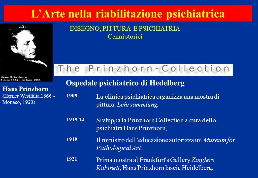 L'Arte nella riabilitazione psichiatrica 1909 La clinica psichiatrica organizza una mostra di pittura: Lehrsammlung. 1919-22 Sivluppa la Prinzhorn Col