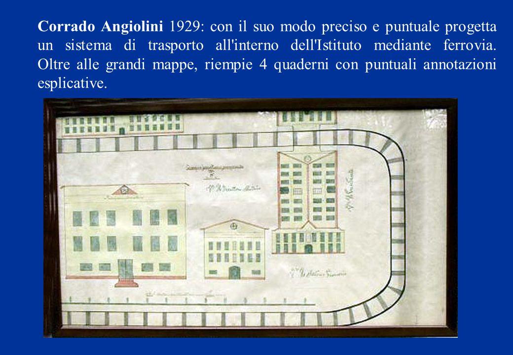 Corrado Angiolini 1929: con il suo modo preciso e puntuale progetta un sistema di trasporto all'interno dell'Istituto mediante ferrovia. Oltre alle gr