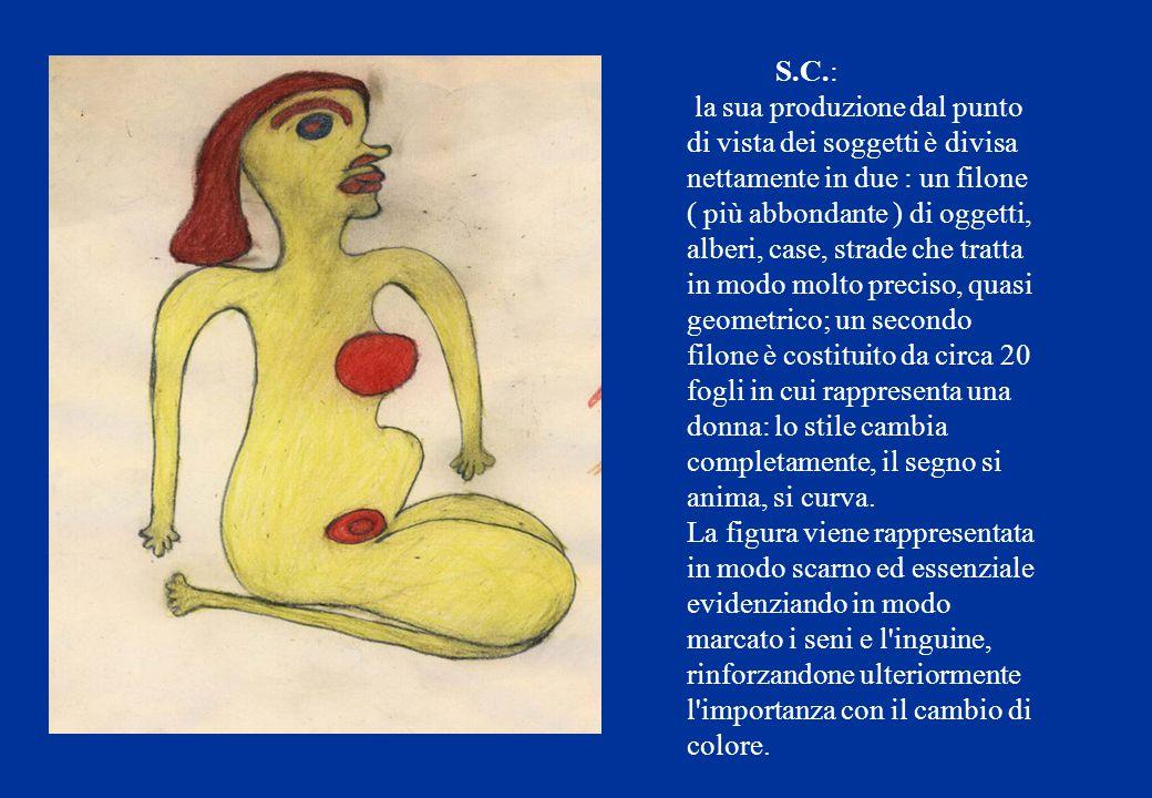 S.C.: la sua produzione dal punto di vista dei soggetti è divisa nettamente in due : un filone ( più abbondante ) di oggetti, alberi, case, strade che