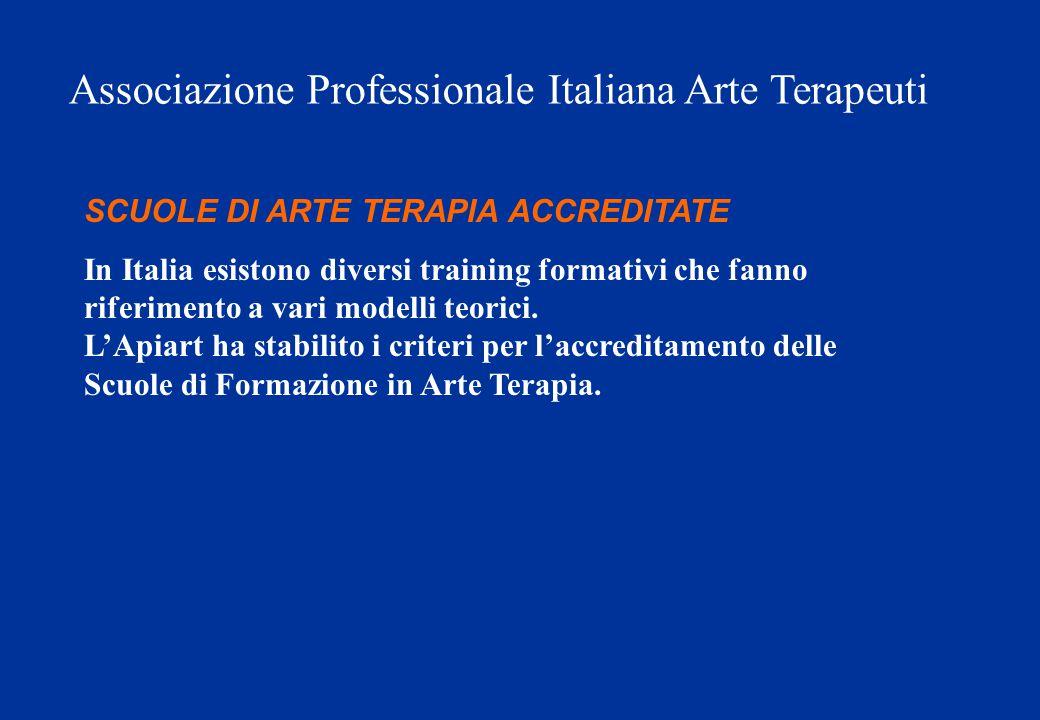 SCUOLE DI ARTE TERAPIA ACCREDITATE In Italia esistono diversi training formativi che fanno riferimento a vari modelli teorici. L'Apiart ha stabilito i