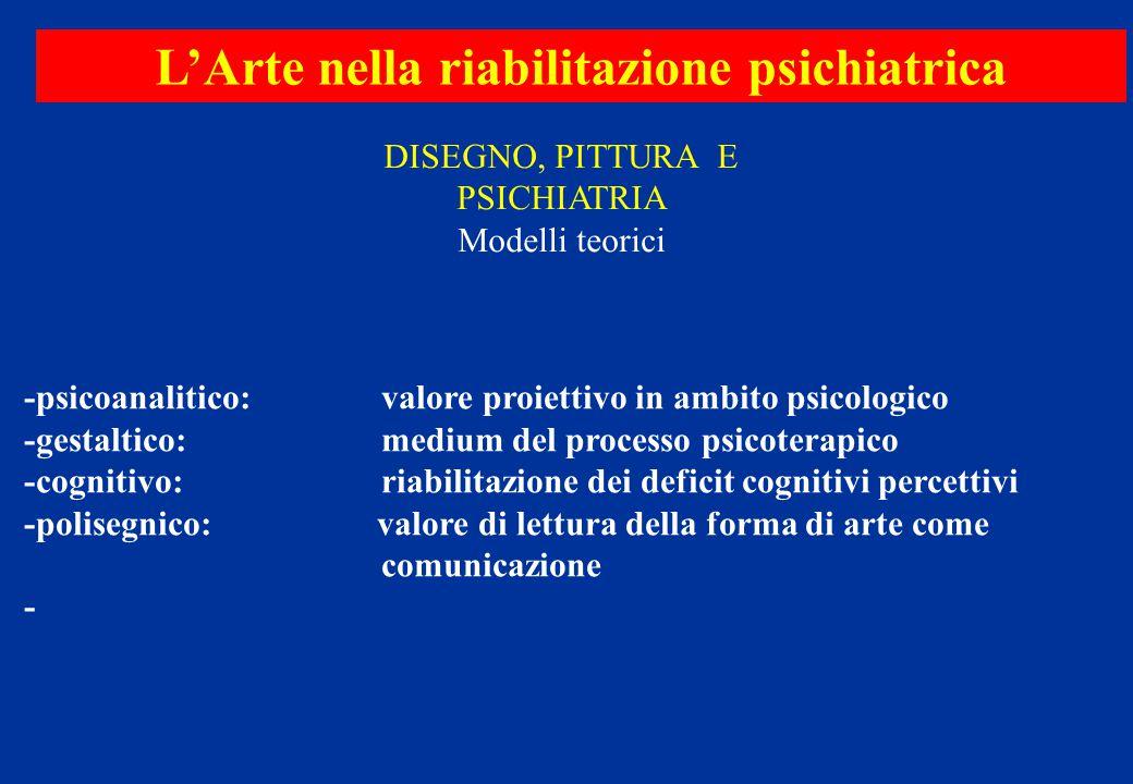 L'Arte nella riabilitazione psichiatrica -psicoanalitico: valore proiettivo in ambito psicologico -gestaltico: medium del processo psicoterapico -cogn