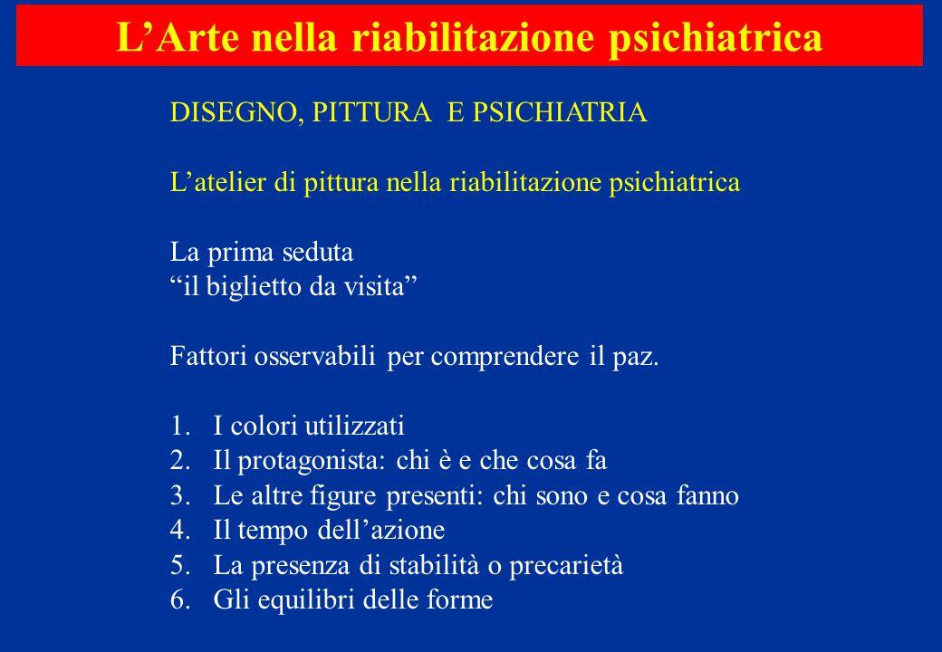 "L'Arte nella riabilitazione psichiatrica DISEGNO, PITTURA E PSICHIATRIA L'atelier di pittura nella riabilitazione psichiatrica La prima seduta ""il big"
