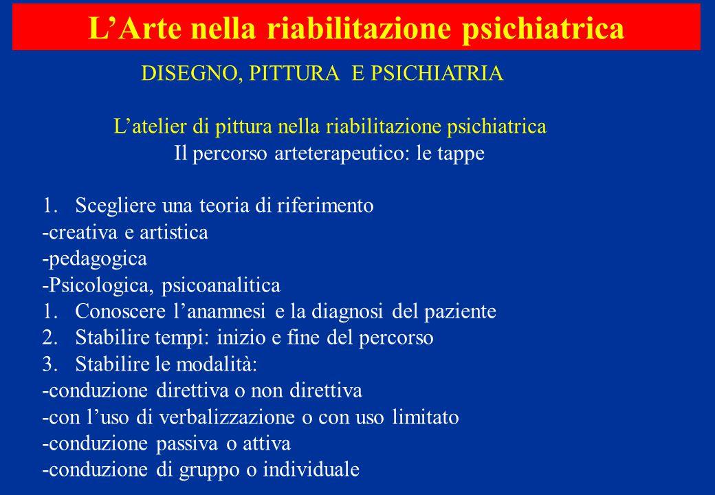 L'Arte nella riabilitazione psichiatrica DISEGNO, PITTURA E PSICHIATRIA L'atelier di pittura nella riabilitazione psichiatrica Il percorso arteterapeu