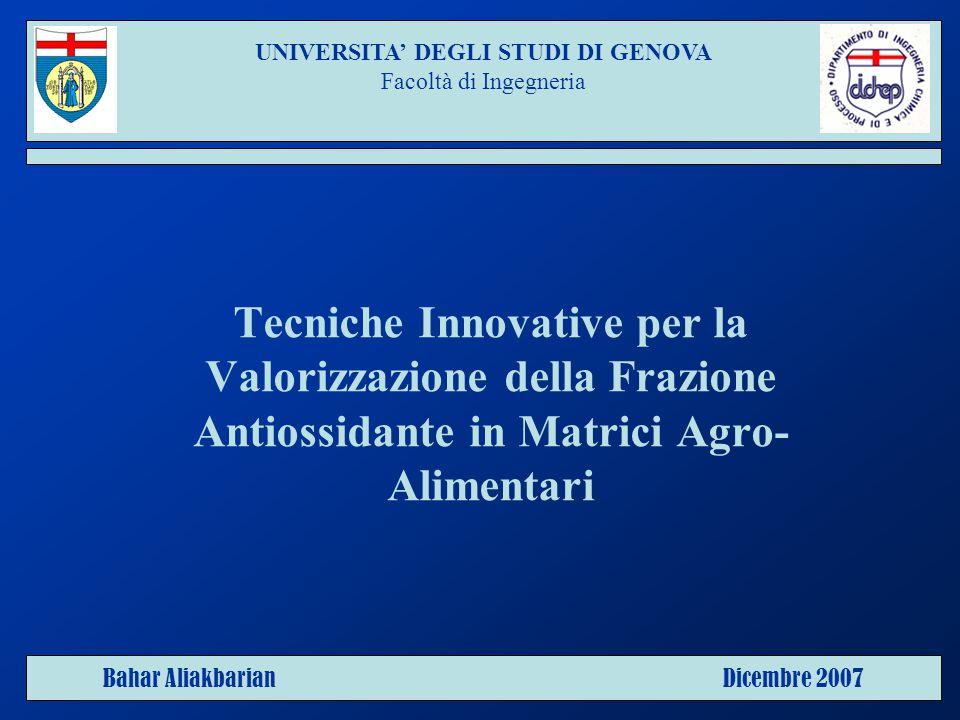 Tecniche Innovative per la Valorizzazione della Frazione Antiossidante in Matrici Agro- Alimentari UNIVERSITA' DEGLI STUDI DI GENOVA Facoltà di Ingegneria Bahar Aliakbarian Dicembre 2007