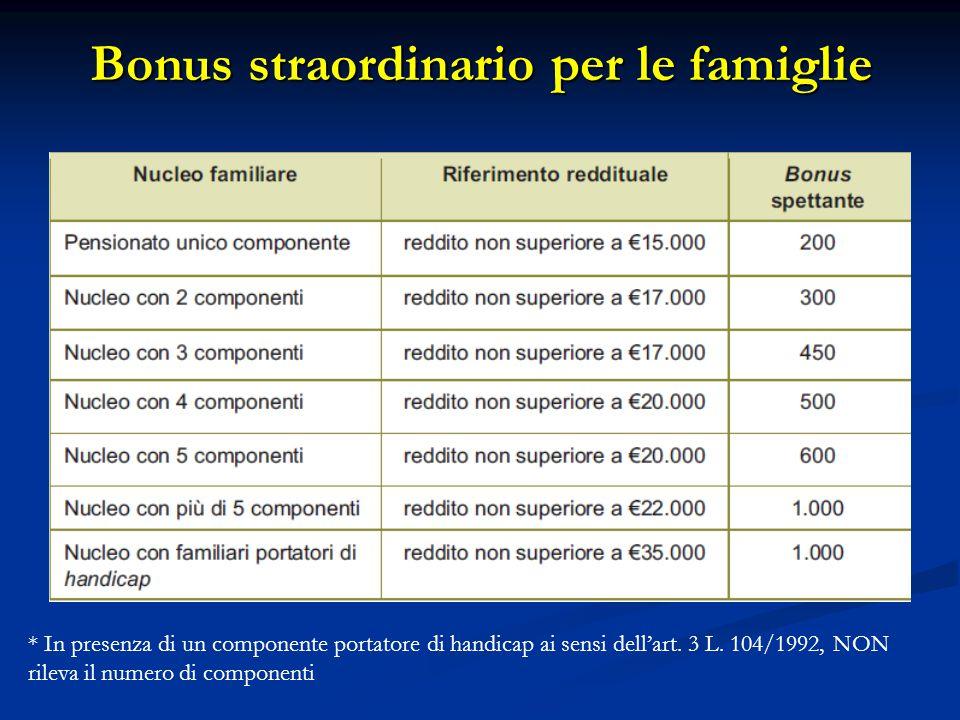 Bonus straordinario per le famiglie * In presenza di un componente portatore di handicap ai sensi dell'art. 3 L. 104/1992, NON rileva il numero di com