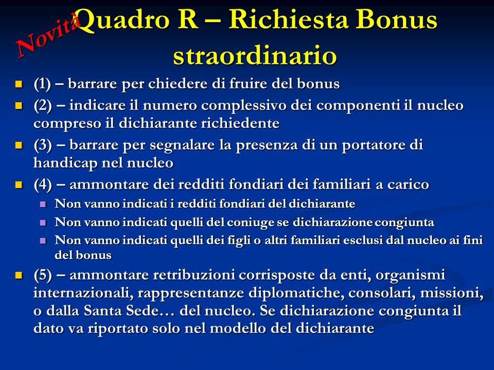 (1) – barrare per chiedere di fruire del bonus (1) – barrare per chiedere di fruire del bonus (2) – indicare il numero complessivo dei componenti il n