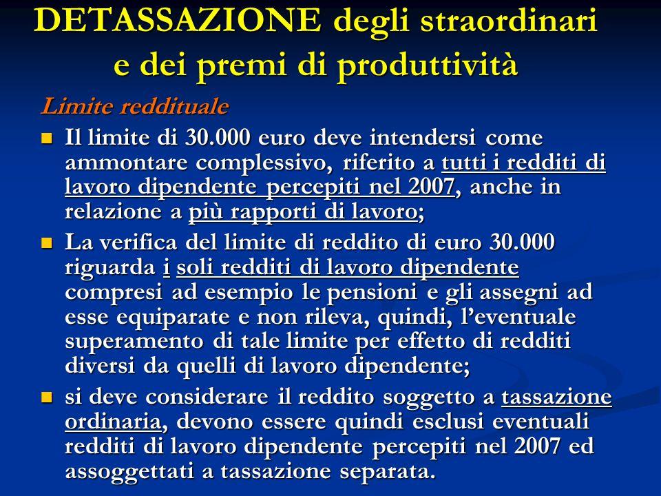 Limite reddituale Il limite di 30.000 euro deve intendersi come ammontare complessivo, riferito a tutti i redditi di lavoro dipendente percepiti nel 2