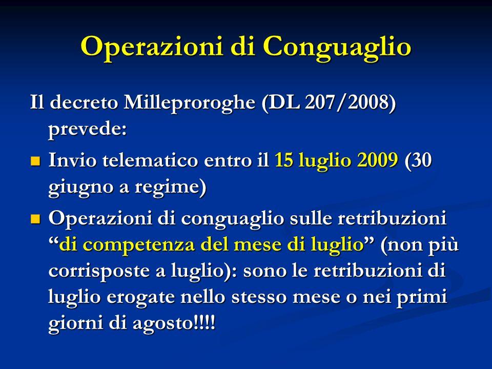 Operazioni di Conguaglio Il decreto Milleproroghe (DL 207/2008) prevede: Invio telematico entro il 15 luglio 2009 (30 giugno a regime) Invio telematic