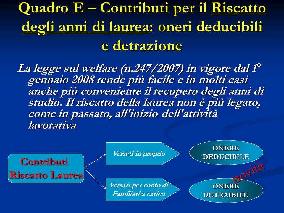 Quadro E – Contributi per il Riscatto degli anni di laurea: oneri deducibili e detrazione La legge sul welfare (n.247/2007) in vigore dal 1° gennaio 2