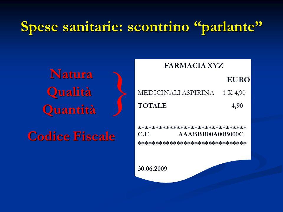 "Spese sanitarie: scontrino ""parlante"" FARMACIA XYZ EURO MEDICINALI ASPIRINA1 X 4,90 TOTALE 4,90 ******************************* C.F. AAABBB00A00B000C"