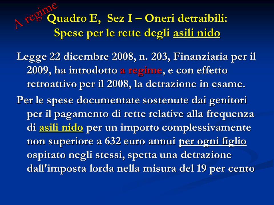 Legge 22 dicembre 2008, n. 203, Finanziaria per il 2009, ha introdotto a regime, e con effetto retroattivo per il 2008, la detrazione in esame. Per le