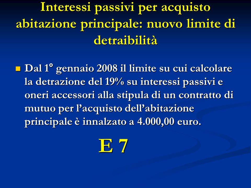 Interessi passivi per acquisto abitazione principale: nuovo limite di detraibilità Dal 1° gennaio 2008 il limite su cui calcolare la detrazione del 19