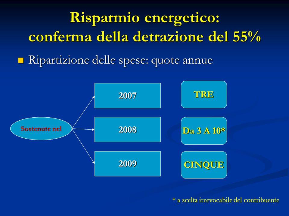 Ripartizione delle spese: quote annue Ripartizione delle spese: quote annue Risparmio energetico: conferma della detrazione del 55% 2007 2008 2009 Sos