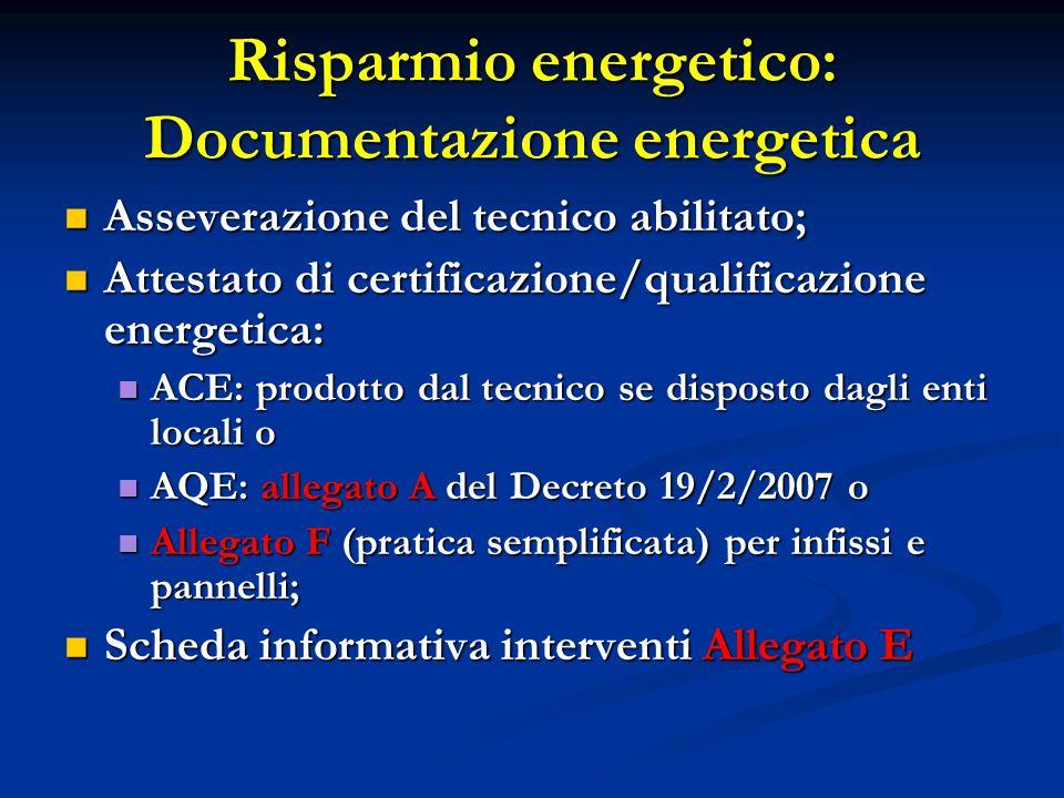 Risparmio energetico: Documentazione energetica Asseverazione del tecnico abilitato; Asseverazione del tecnico abilitato; Attestato di certificazione/