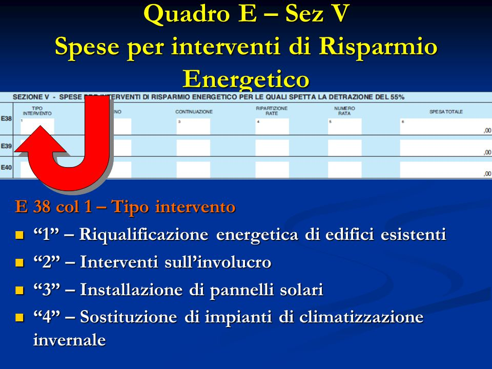 """Quadro E – Sez V Spese per interventi di Risparmio Energetico E 38 col 1 – Tipo intervento """"1"""" – Riqualificazione energetica di edifici esistenti """"1"""""""