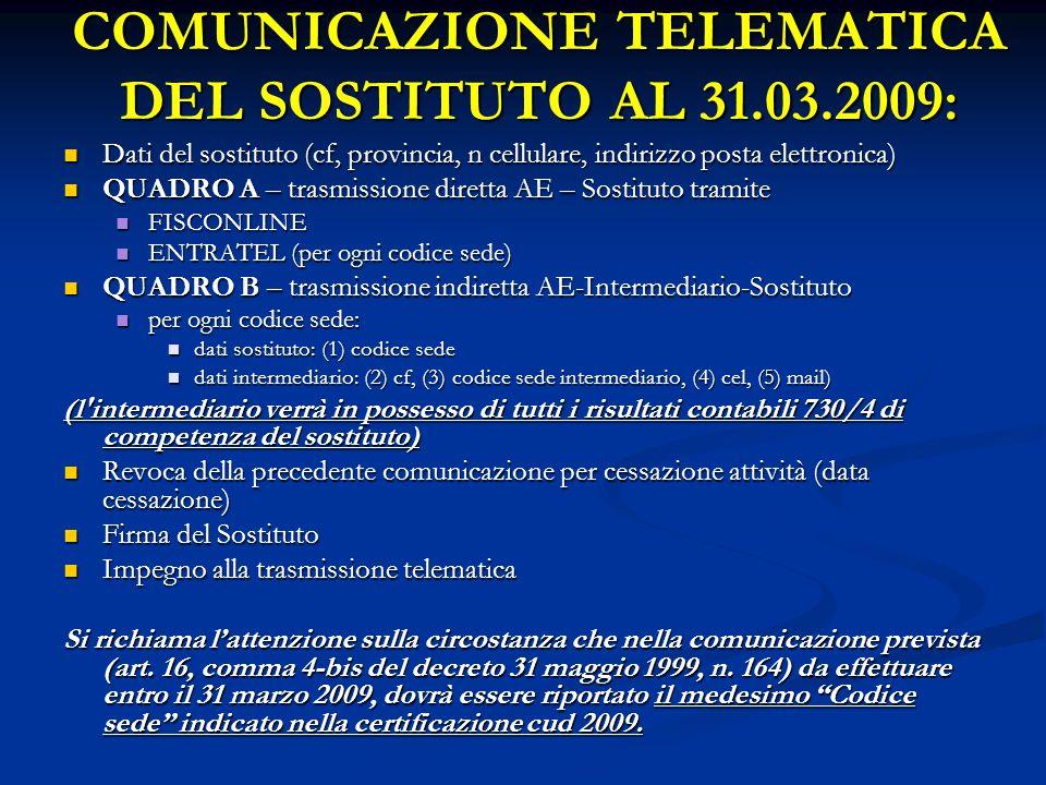 COMUNICAZIONE TELEMATICA DEL SOSTITUTO AL 31.03.2009: Dati del sostituto (cf, provincia, n cellulare, indirizzo posta elettronica) Dati del sostituto