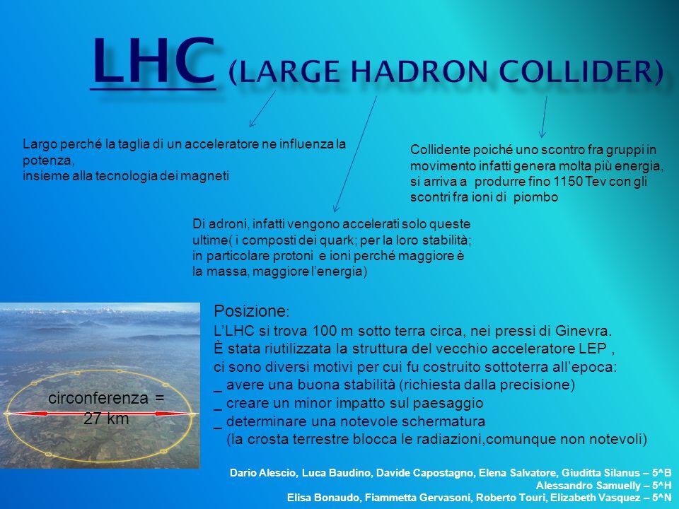 circonferenza = 27 km Posizione : L'LHC si trova 100 m sotto terra circa, nei pressi di Ginevra. È stata riutilizzata la struttura del vecchio acceler