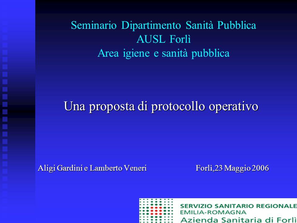 Seminario Dipartimento Sanità Pubblica AUSL Forlì Area igiene e sanità pubblica Una proposta di protocollo operativo Aligi Gardini e Lamberto Veneri Forlì,23 Maggio 2006