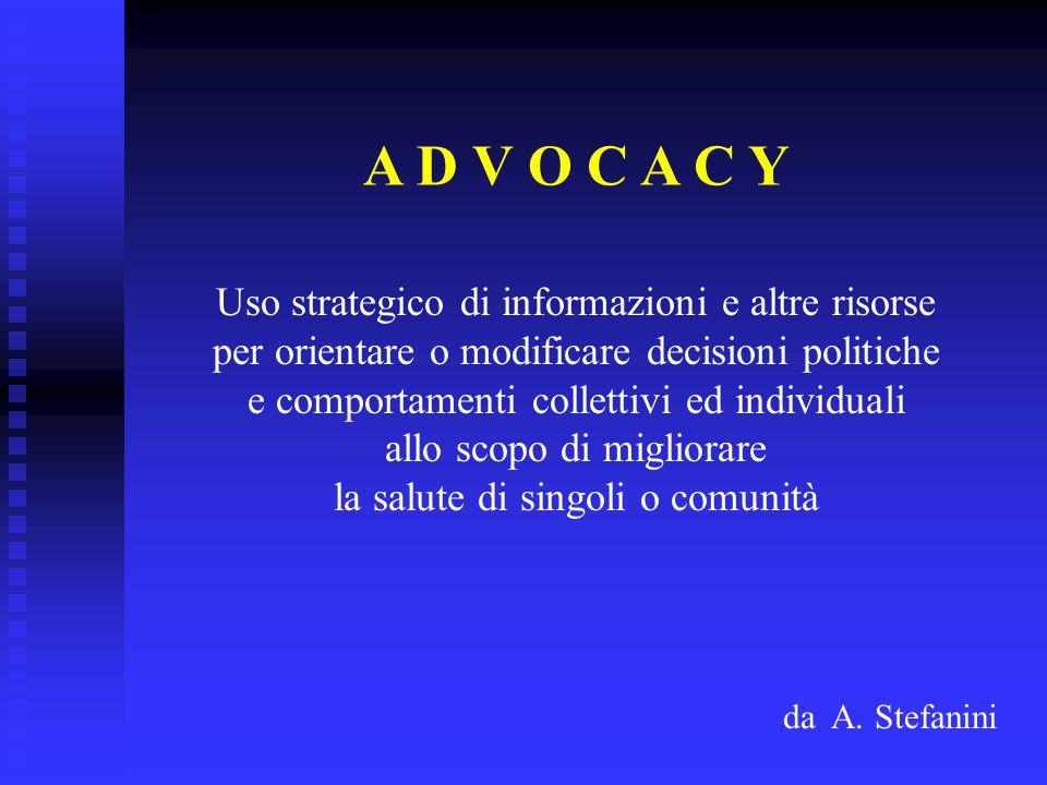 A D V O C A C Y Uso strategico di informazioni e altre risorse per orientare o modificare decisioni politiche e comportamenti collettivi ed individuali allo scopo di migliorare la salute di singoli o comunità da A.