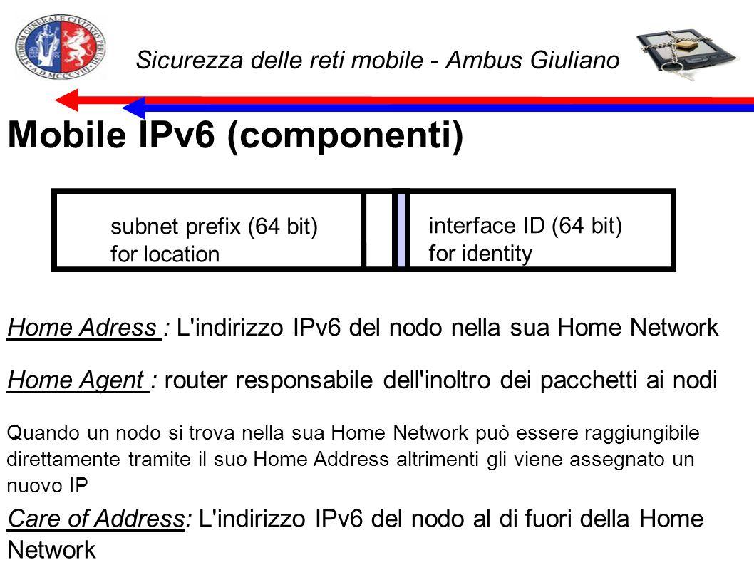 Sicurezza delle reti mobile - Ambus Giuliano Mobile IPv6 (componenti) subnet prefix (64 bit) for location interface ID (64 bit) for identity Home Adress : L indirizzo IPv6 del nodo nella sua Home Network Home Agent : router responsabile dell inoltro dei pacchetti ai nodi Quando un nodo si trova nella sua Home Network può essere raggiungibile direttamente tramite il suo Home Address altrimenti gli viene assegnato un nuovo IP Care of Address: L indirizzo IPv6 del nodo al di fuori della Home Network