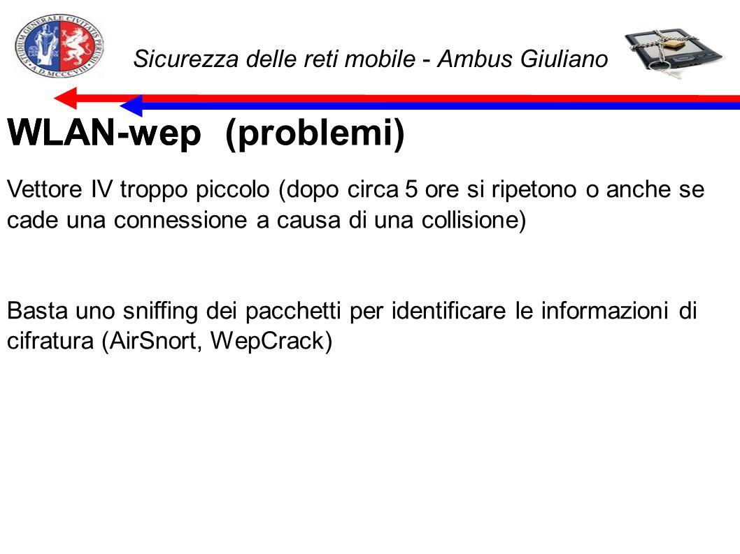 Sicurezza delle reti mobile - Ambus Giuliano WLAN-wep (problemi)WLAN-wep Vettore IV troppo piccolo (dopo circa 5 ore si ripetono o anche se cade una connessione a causa di una collisione) Basta uno sniffing dei pacchetti per identificare le informazioni di cifratura (AirSnort, WepCrack)