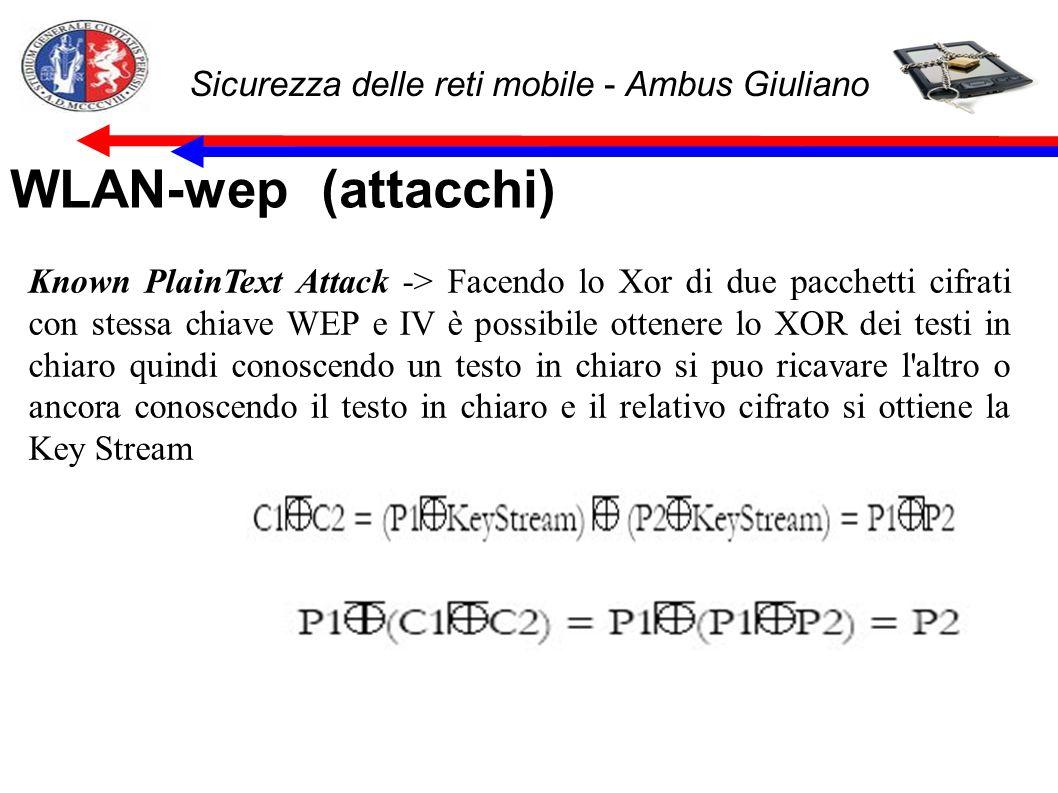 Sicurezza delle reti mobile - Ambus Giuliano WLAN-wep (attacchi) Known PlainText Attack -> Facendo lo Xor di due pacchetti cifrati con stessa chiave