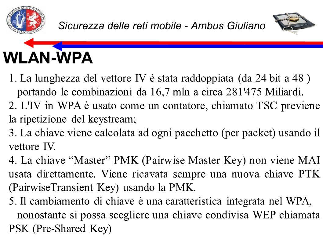 Sicurezza delle reti mobile - Ambus Giuliano WLAN-WPA 1. La lunghezza del vettore IV è stata raddoppiata (da 24 bit a 48 ) portando le combinazioni d