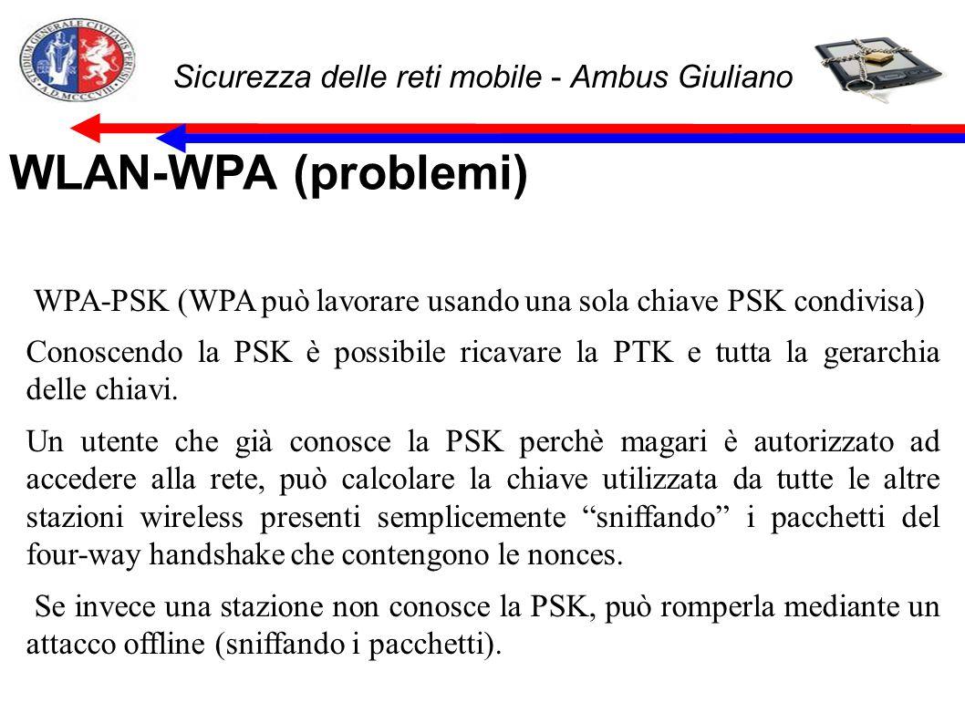 Sicurezza delle reti mobile - Ambus Giuliano WLAN-WPA (problemi) WPA-PSK (WPA può lavorare usando una sola chiave PSK condivisa) Conoscendo la PSK è possibile ricavare la PTK e tutta la gerarchia delle chiavi.